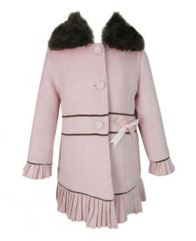 Designer Girls Baby Pink Coat with Detachable Fur Collar and Hat Set