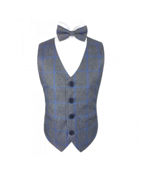 View of the bow tie with a waistcoat and shirt of the Boys Grey and Blue Check Tweed Bow Tie and Pocket Square