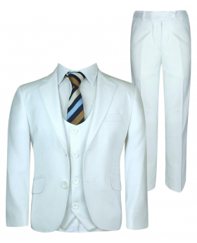 DR. JUNIOR Boys Slim Fit White Suit Sets