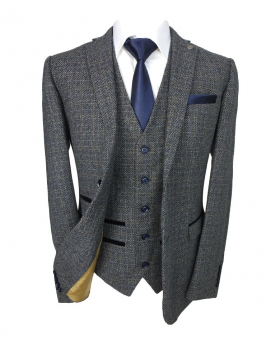 Paul Andrew Father and Son Tailored Fit Tweed Suit in Grey & Navy Blue