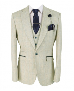 Mens & Boys Retro Slim Fit Beige Check Tweed Style blazer with waistcoat and accessories front picture