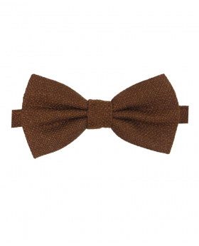 View of the bow tie from the Mens & Boys Cinnamon Brown Tweed Dickie Bow Tie and Pocket Square
