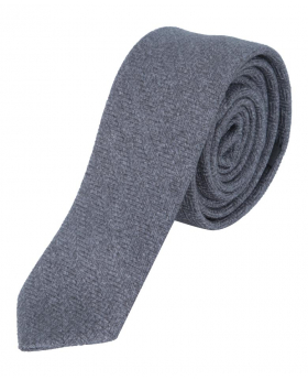 Mens & Boys Herringbone Slim Tweed Tie and Pocket Square in Grey