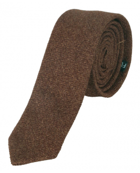 Mens & Boys Herringbone Slim Tweed Tie and Pocket Square in Cinnamon Brown