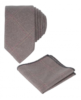 Men's &Boys  Tweed Check Slim Tie Set in Tan Brown front picture
