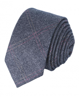 Men's &Boys  Tweed Check Slim Tie in Charcoal Grey front picture