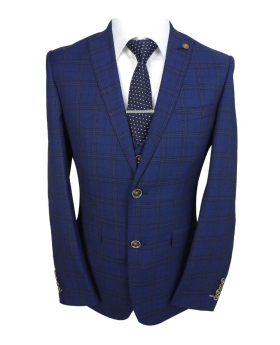 Mens Slim Fit Vintage Check blazer waistcoat with accessories in Navy Blue front Picture