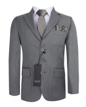 Designer Sebastian Le Blanc Boys Grey 3 Piece Slim Fit Suit - Prince William Style