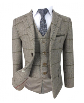 Beau Kid Boys Brown Wool Mix Tweed Suit with Elbow Patches with Jacket, waistcoat, shirt and blue tie