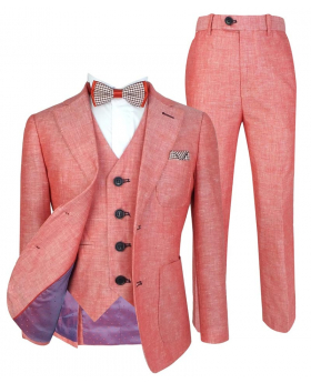 Boys Red Tailored Fit Italian Linen Wedding Pageboy  6 Piece Suit with Shirt and accessories front picture
