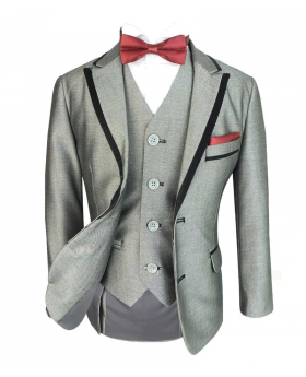 Boys Exclusive Slim Fit Light Grey Tuxedo Dinner Suit by Romano