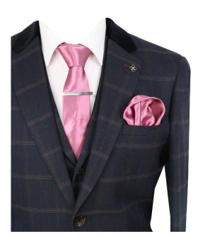 Men's Connall Navy Blue Slim Fit Tweed Check Retro Suit