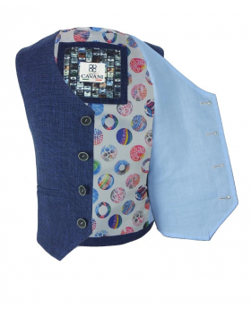 Cavani Boys Slim Fit Textured Denim Blue Suit