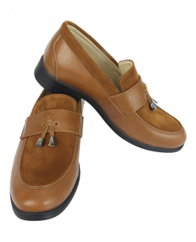 View of the Flamingo Boys Faux Leather & Suede Loafers in Tan Brown