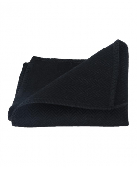 View of the Mens & Boys Herringbone Tweed Pocket Hanky in Black folded