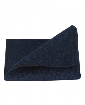 Folded view of the Mens & Boys Herringbone Tweed Hanky in Navy Blue