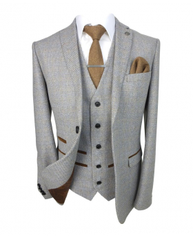 Paul Andrew Mens' and Boys Tailored Fit Tweed Suit in Cream