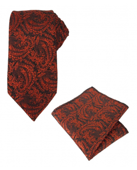 Boys & Men Paisley Swirls Formal Tie and Hanky in Red for Weddings and Special Occasions