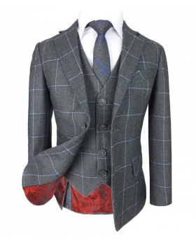 Boys Exclusive Grey and Blue Windowpane Slim Fit Check Suit kids jacket, waistcoat, shirt and tie