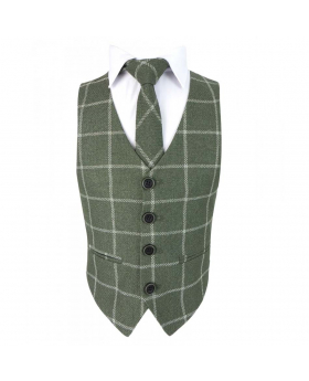 View of the tie with shirt and waistcoat of the Boys Slim Check Tweed Tie and Hanky - Sage Green