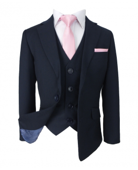 Romano Boys Slim Fit French Navy Blue Suit