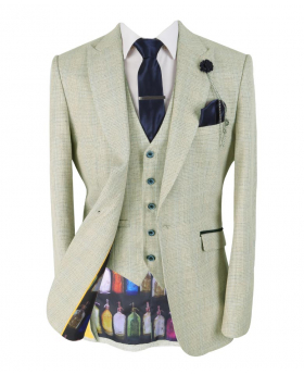 Mens & Boys Retro Slim Fit Beige Check Tweed Style blazer with waistcoat and accessories front open picture
