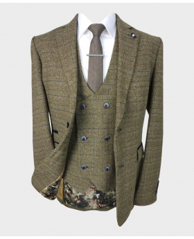 Mens Double Breasted Waistcoat blazer with accessories  Tweed Check in Brown front open picture