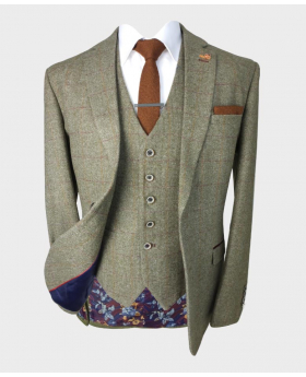 Open view of the blazer jacket from the Men's Gaston Sage Slim Fit Herringbone Tweed Retro Vintage Suit
