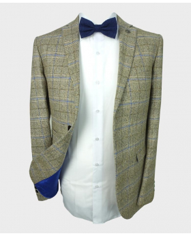 Open view of the Paul Andrew Men's Tailored Fit Check Tweed Blazer in Beige with shirt and bow tie