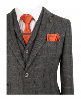 Near view of the blazer jacket from the Cavani Mens & Boys Grey Wool Blend Herringbone Check Tweed Suit