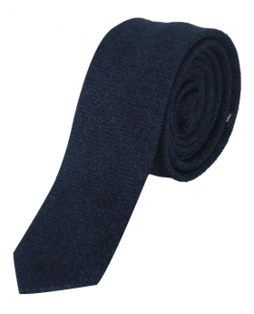 Mens & Boys Herringbone Slim Tweed Tie and Pocket Square in Navy Blue