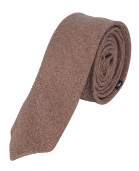 Mens & Boys Herringbone Slim Tweed Tie and Pocket Square in Tan Brown