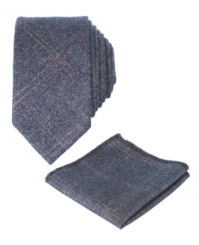 Men's &Boys  Tweed Check Slim Tie Set in Charcoal Grey front picture