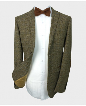 Open front view of the Paul Andrew Men's Tailored Fit Brown Tweed Blazer with Elbow Patches with shirt and bow tie