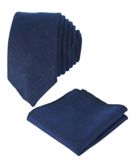 Boys Mens Tweed Check Slim Tie in Navy Blue