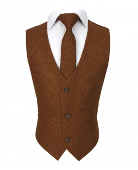 Flamingo Boy's Men's Cinnamon Brown Tweed Waistcoat Sets