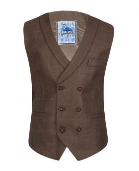 Flamingo Men's Boys Marrone Brown Tweed Check Waistcoat Sets