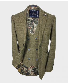 Mens Double Breasted waistcoat and blazer  Tweed Check in Brown Front picture