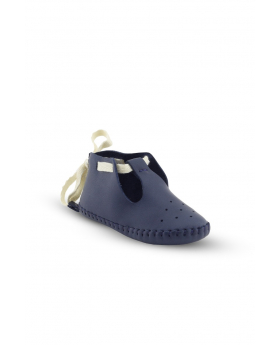 Baby Boys Genuine Leather Soft Sole Prewalker Open Side Crib Shoes in Navy Blue side picture