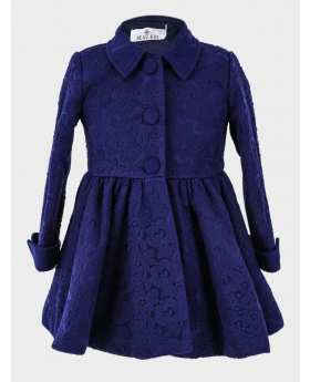 Baby Girl Floral Lace Embroidered Coat  in Navy Blue front picture