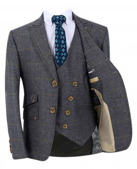 Boy's Check Slim Fit Suit Formal Jacket and double-breasted waistcoat in Grey  with accessories front open  picture