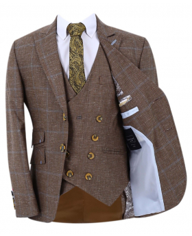 Boy's Check Slim Fit Suit Formal jacket and double-breasted waistcoat in Tan Brown with accessories front open picture