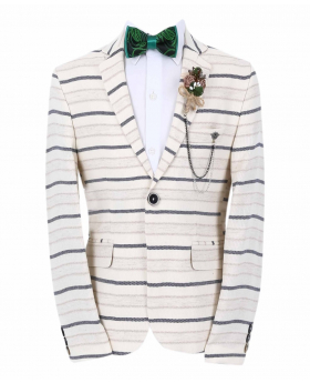 Boy's Horizontal Striped Slim Fit Fashion Blazer in Beige with Navy Stripes with accessories front picture