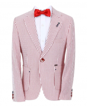Boy's Striped Boating Slim Fit Blazer with accessory in Red front picture