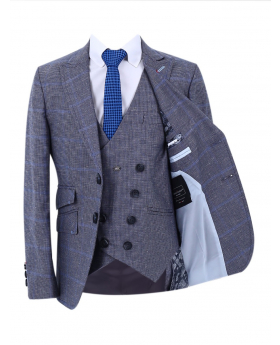 Boy's Windowpane Check Slim Fit Suit Jacket and double-breasted waistcoat in Grey with accessories front picture