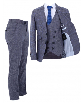 Boy's Windowpane Check Slim Fit Suit Formal 3 Piece Set in Grey front picture