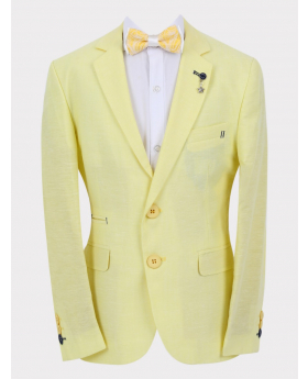 Boys Casual Linen Tailored Fit Blazer in Yellow with accessories front picture