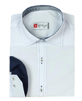 Boys Classic Collar Cotton Blend Shirt in White front picture