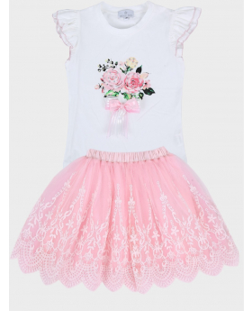 Girls Floral Print Summer Casual 2 Piece Tulle Skirt Set
