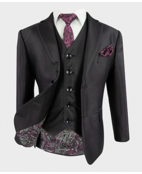 Joe Cooper Boys Tailored Fit Textured Sheen Effect Suit in Tonic Purple with a  purple paisley tie and matching hankie-Open